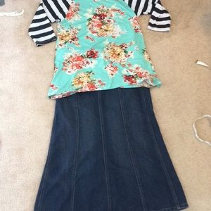 Super cute jean skirt!
